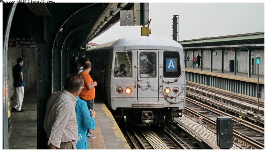 (254k, 1044x595)<br><b>Country:</b> United States<br><b>City:</b> New York<br><b>System:</b> New York City Transit<br><b>Line:</b> IND Fulton Street Line<br><b>Location:</b> Rockaway Boulevard<br><b>Route:</b> A<br><b>Car:</b> R-46 (Pullman-Standard, 1974-75) 5878 <br><b>Photo by:</b> Bernard Chatreau<br><b>Date:</b> 9/25/2011<br><b>Viewed (this week/total):</b> 2 / 940