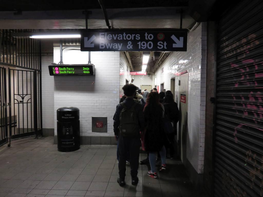 (95k, 1024x768)<br><b>Country:</b> United States<br><b>City:</b> New York<br><b>System:</b> New York City Transit<br><b>Line:</b> IRT West Side Line<br><b>Location:</b> 191st Street<br><b>Photo by:</b> Robbie Rosenfeld<br><b>Date:</b> 12/9/2015<br><b>Notes:</b> Elevator.<br><b>Viewed (this week/total):</b> 2 / 1668