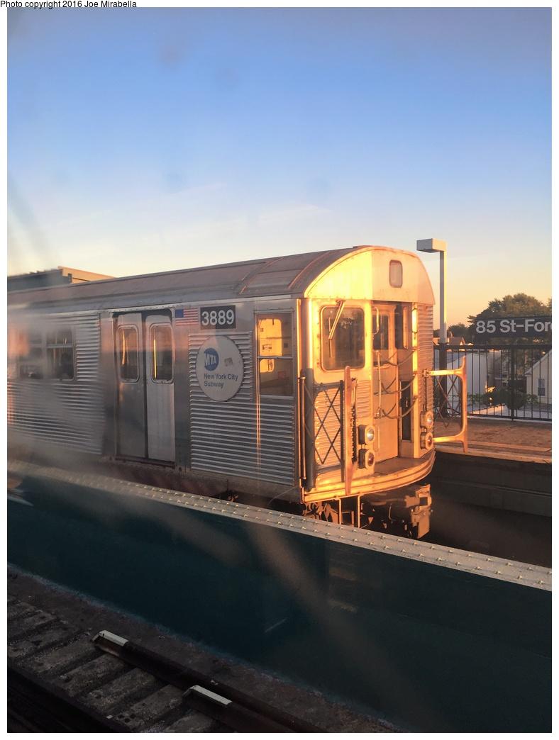 (238k, 788x1044)<br><b>Country:</b> United States<br><b>City:</b> New York<br><b>System:</b> New York City Transit<br><b>Line:</b> BMT Nassau Street-Jamaica Line<br><b>Location:</b> 85th Street/Forest Parkway<br><b>Route:</b> J<br><b>Car:</b> R-32 (Budd, 1964) 3889 <br><b>Photo by:</b> Joe Mirabella<br><b>Date:</b> 10/10/2015<br><b>Viewed (this week/total):</b> 1 / 1159