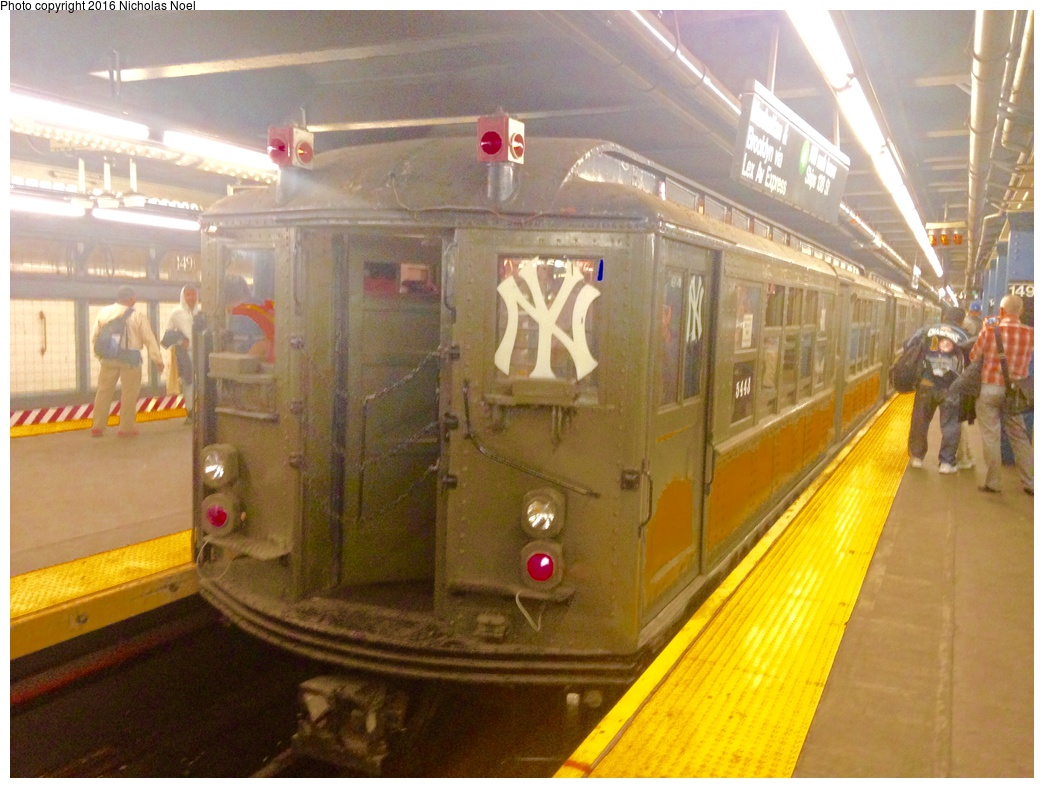 (288k, 1044x788)<br><b>Country:</b> United States<br><b>City:</b> New York<br><b>System:</b> New York City Transit<br><b>Line:</b> IRT Woodlawn Line<br><b>Location:</b> 149th Street-Grand Concourse<br><b>Route:</b> Museum Train Service<br><b>Car:</b> Low-V (Museum Train) 5443 <br><b>Photo by:</b> Nicholas Noel<br><b>Date:</b> 10/6/2015<br><b>Viewed (this week/total):</b> 0 / 1376