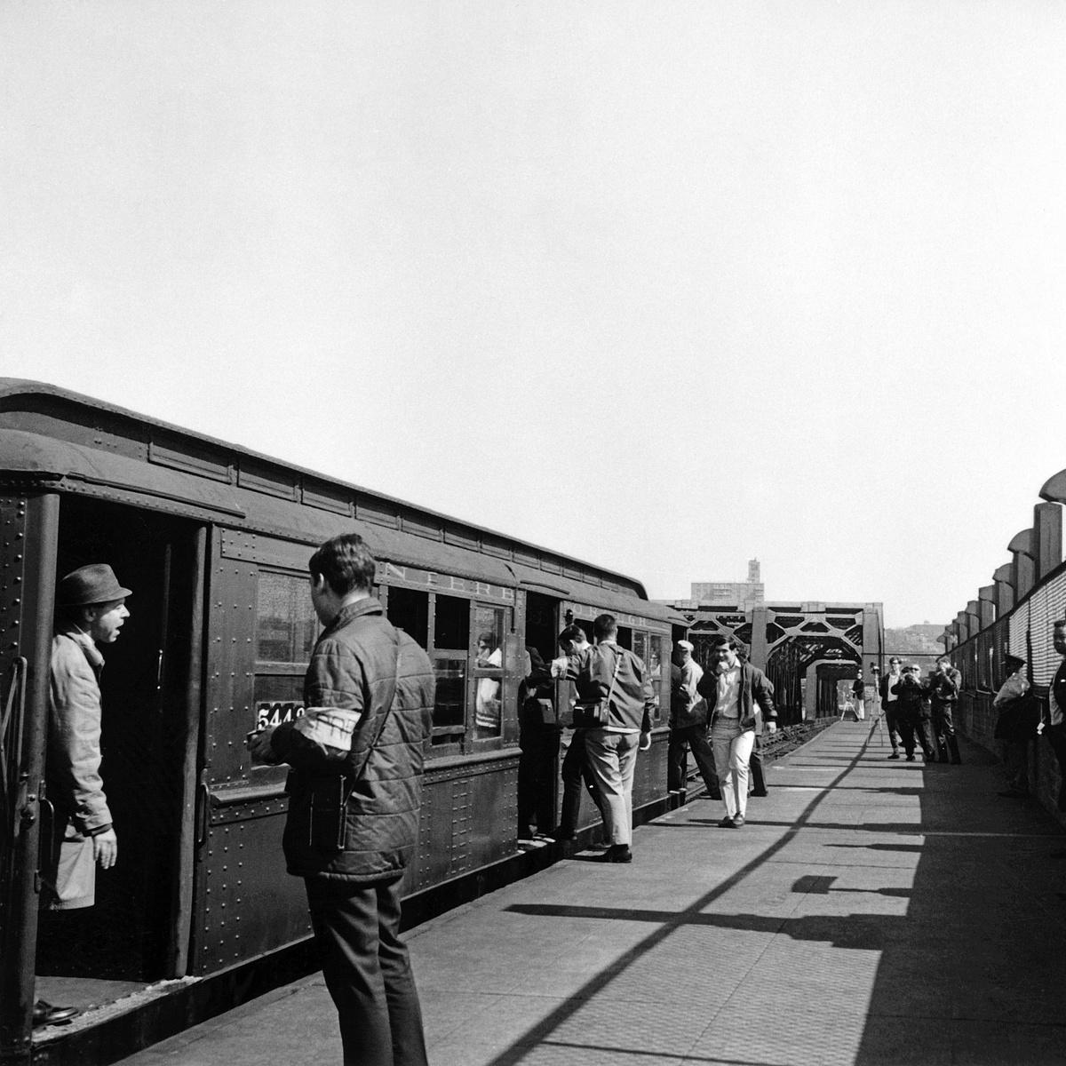 (476k, 1200x1200)<br><b>Country:</b> United States<br><b>City:</b> New York<br><b>System:</b> New York City Transit<br><b>Line:</b> IND Crosstown Line<br><b>Location:</b> Smith/9th Street<br><b>Route:</b> Fan Trip<br><b>Car:</b> Low-V (Museum Train) 5443 <br><b>Collection of:</b> David Pirmann<br><b>Date:</b> 4/6/1968<br><b>Viewed (this week/total):</b> 2 / 1227