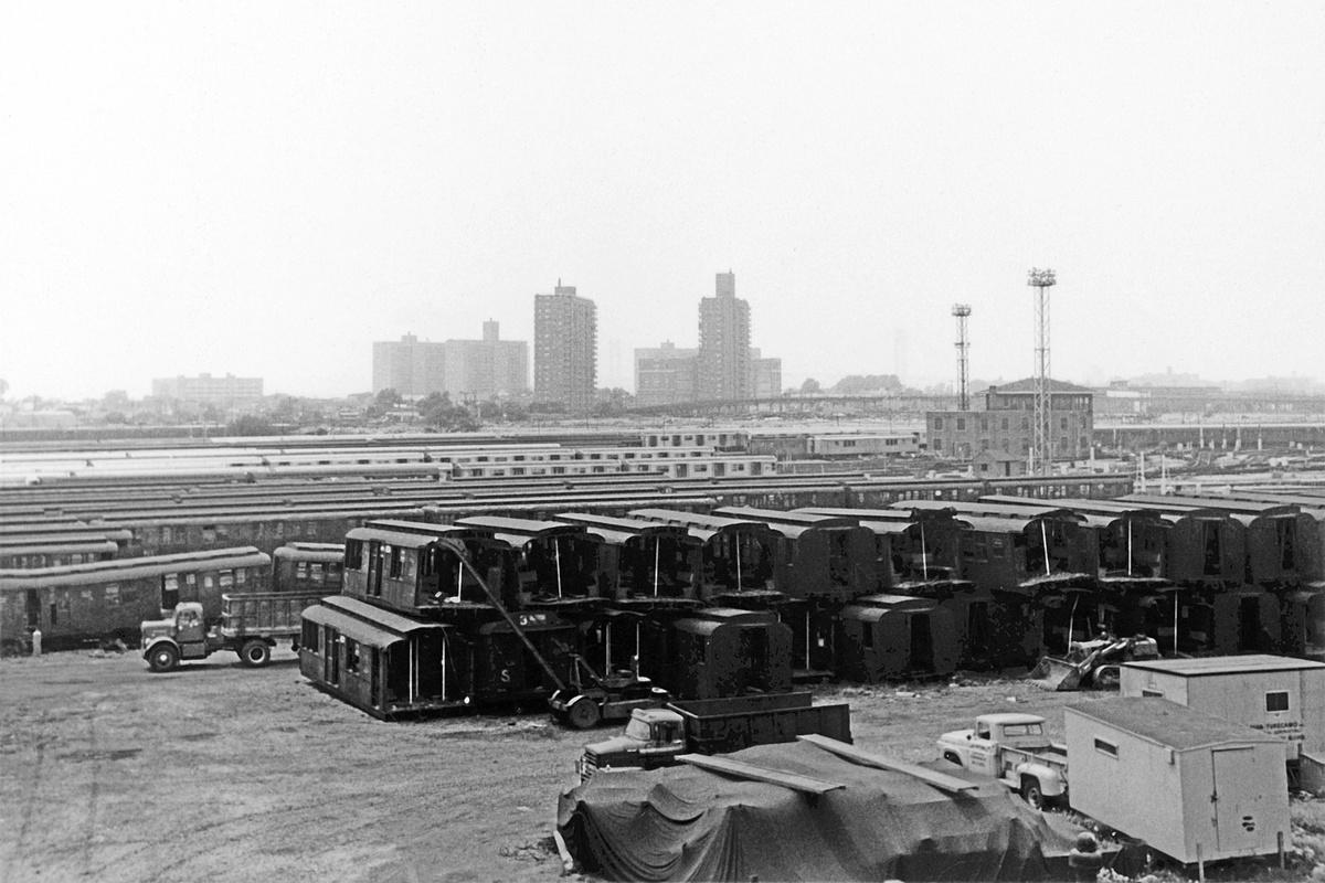 (312k, 1200x800)<br><b>Country:</b> United States<br><b>City:</b> New York<br><b>System:</b> New York City Transit<br><b>Location:</b> Coney Island Yard<br><b>Car:</b> BMT A/B-Type Standard  <br><b>Collection of:</b> David Pirmann<br><b>Date:</b> 7/4/1965<br><b>Notes:</b> Scrapping BMT A/B types<br><b>Viewed (this week/total):</b> 0 / 1038