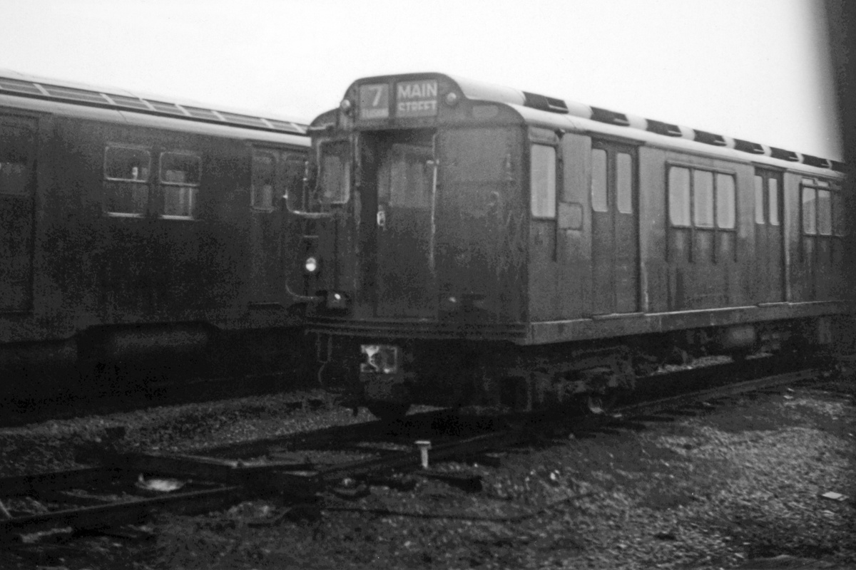 (278k, 1200x800)<br><b>Country:</b> United States<br><b>City:</b> New York<br><b>System:</b> New York City Transit<br><b>Location:</b> Corona Yard<br><b>Route:</b> 7<br><b>Car:</b> R-12 (American Car & Foundry, 1948)  <br><b>Collection of:</b> David Pirmann<br><b>Date:</b> 4/19/1964<br><b>Viewed (this week/total):</b> 0 / 1066