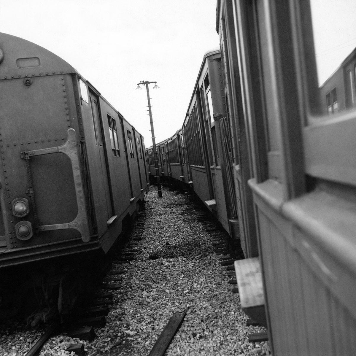 (528k, 1200x1200)<br><b>Country:</b> United States<br><b>City:</b> New York<br><b>System:</b> New York City Transit<br><b>Location:</b> Coney Island Yard<br><b>Route:</b> Fan Trip<br><b>Car:</b> BMT Q  <br><b>Collection of:</b> David Pirmann<br><b>Date:</b> 4/19/1964<br><b>Notes:</b> With R27/30 train<br><b>Viewed (this week/total):</b> 0 / 851