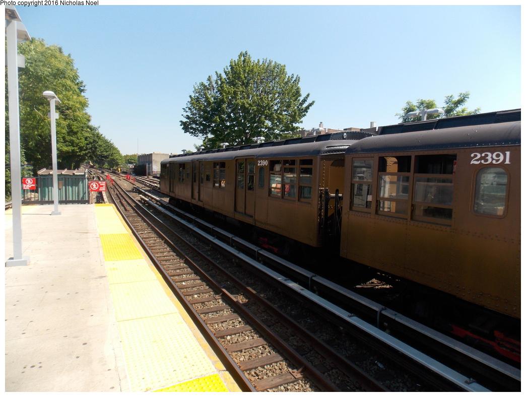 (362k, 1044x788)<br><b>Country:</b> United States<br><b>City:</b> New York<br><b>System:</b> New York City Transit<br><b>Line:</b> BMT Brighton Line<br><b>Location:</b> Kings Highway<br><b>Route:</b> Museum Train Service<br><b>Car:</b> BMT A/B-Type Standard 2390 <br><b>Photo by:</b> Nicholas Noel<br><b>Date:</b> 6/25/2016<br><b>Notes:</b> New York Transit Museum 40th Anniv. parade of trains.<br><b>Viewed (this week/total):</b> 2 / 927