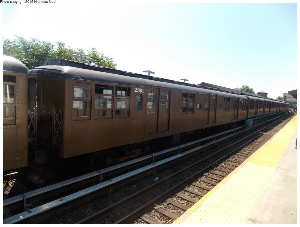 (310k, 1044x788)<br><b>Country:</b> United States<br><b>City:</b> New York<br><b>System:</b> New York City Transit<br><b>Line:</b> BMT Brighton Line<br><b>Location:</b> Kings Highway<br><b>Route:</b> Museum Train Service<br><b>Car:</b> BMT A/B-Type Standard 2391 <br><b>Photo by:</b> Nicholas Noel<br><b>Date:</b> 6/25/2016<br><b>Notes:</b> New York Transit Museum 40th Anniv. parade of trains.<br><b>Viewed (this week/total):</b> 2 / 927