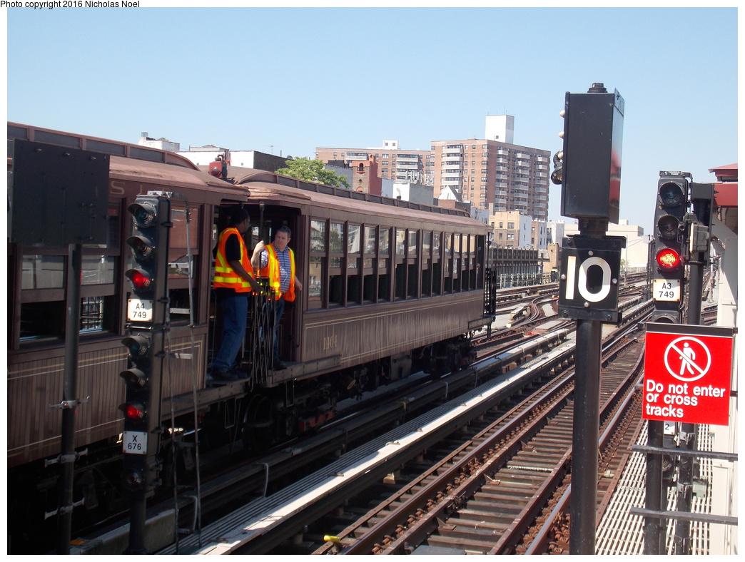 (391k, 1044x788)<br><b>Country:</b> United States<br><b>City:</b> New York<br><b>System:</b> New York City Transit<br><b>Line:</b> BMT Brighton Line<br><b>Location:</b> Brighton Beach<br><b>Route:</b> Museum Train Service<br><b>Car:</b> BMT Elevated Gate Car 1404 <br><b>Photo by:</b> Nicholas Noel<br><b>Date:</b> 6/25/2016<br><b>Notes:</b> New York Transit Museum 40th Anniv. parade of trains.<br><b>Viewed (this week/total):</b> 2 / 1276