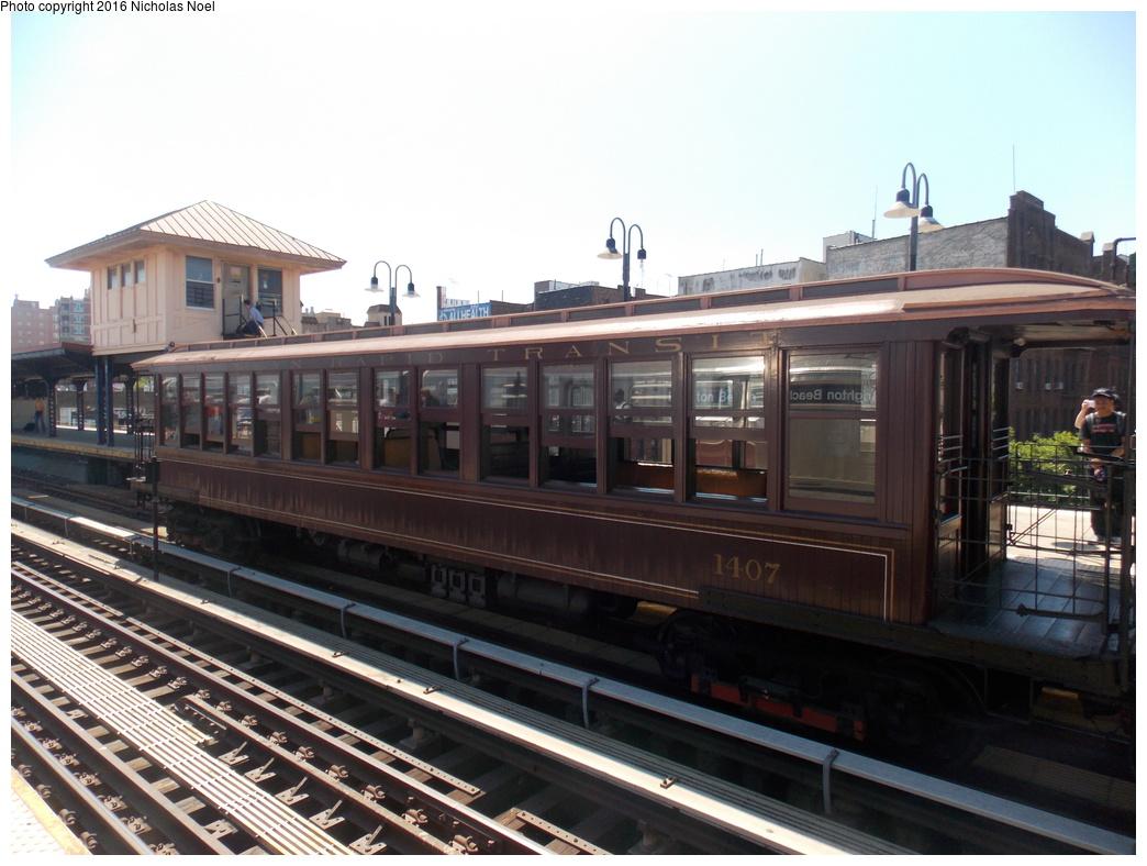 (340k, 1044x788)<br><b>Country:</b> United States<br><b>City:</b> New York<br><b>System:</b> New York City Transit<br><b>Line:</b> BMT Brighton Line<br><b>Location:</b> Brighton Beach<br><b>Route:</b> Museum Train Service<br><b>Car:</b> BMT Elevated Gate Car 1407 <br><b>Photo by:</b> Nicholas Noel<br><b>Date:</b> 6/25/2016<br><b>Notes:</b> New York Transit Museum 40th Anniv. parade of trains.<br><b>Viewed (this week/total):</b> 2 / 1019