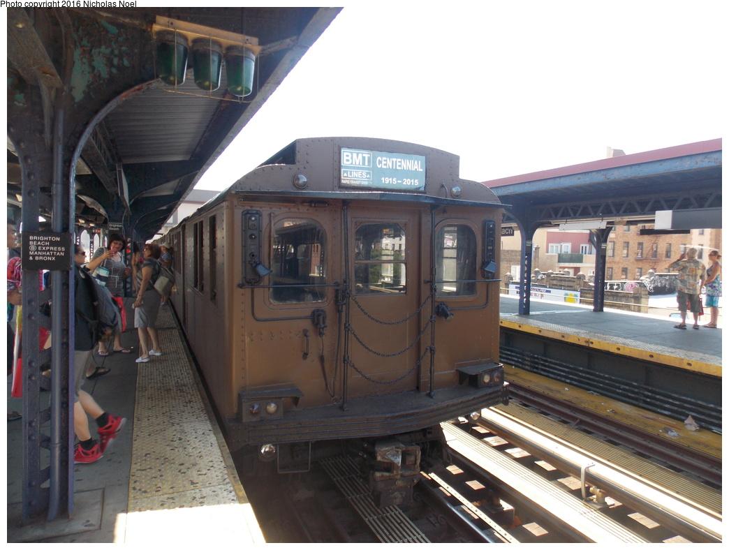 (348k, 1044x788)<br><b>Country:</b> United States<br><b>City:</b> New York<br><b>System:</b> New York City Transit<br><b>Line:</b> BMT Brighton Line<br><b>Location:</b> Brighton Beach<br><b>Route:</b> Museum Train Service<br><b>Car:</b> BMT D-Type Triplex 6112 <br><b>Photo by:</b> Nicholas Noel<br><b>Date:</b> 6/25/2016<br><b>Notes:</b> New York Transit Museum 40th Anniv. parade of trains.<br><b>Viewed (this week/total):</b> 3 / 1008