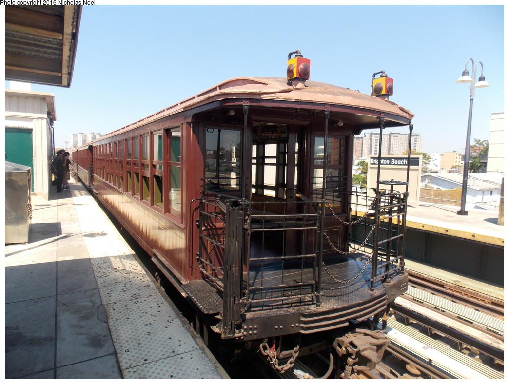 (400k, 1044x788)<br><b>Country:</b> United States<br><b>City:</b> New York<br><b>System:</b> New York City Transit<br><b>Line:</b> BMT Brighton Line<br><b>Location:</b> Brighton Beach<br><b>Route:</b> Museum Train Service<br><b>Car:</b> BMT Elevated Gate Car 1407 <br><b>Photo by:</b> Nicholas Noel<br><b>Date:</b> 6/25/2016<br><b>Notes:</b> New York Transit Museum 40th Anniv. parade of trains.<br><b>Viewed (this week/total):</b> 0 / 1139