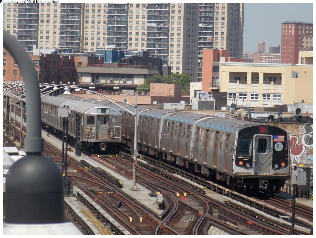 (466k, 1044x788)<br><b>Country:</b> United States<br><b>City:</b> New York<br><b>System:</b> New York City Transit<br><b>Line:</b> BMT Brighton Line<br><b>Location:</b> Brighton Beach<br><b>Route:</b> Q<br><b>Car:</b> R-160A-1 (Alstom, 2005-2008, 4 car sets) 8917 <br><b>Photo by:</b> Nicholas Noel<br><b>Date:</b> 6/25/2016<br><b>Viewed (this week/total):</b> 1 / 1217