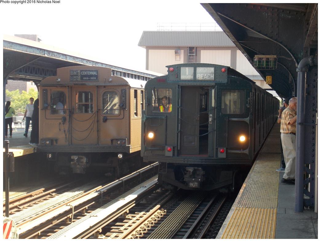 (362k, 1044x788)<br><b>Country:</b> United States<br><b>City:</b> New York<br><b>System:</b> New York City Transit<br><b>Line:</b> BMT Brighton Line<br><b>Location:</b> Brighton Beach<br><b>Route:</b> Museum Train Service<br><b>Car:</b> BMT D-Type Triplex 6112 <br><b>Photo by:</b> Nicholas Noel<br><b>Date:</b> 6/25/2016<br><b>Notes:</b> New York Transit Museum 40th Anniv. parade of trains.<br><b>Viewed (this week/total):</b> 5 / 1018