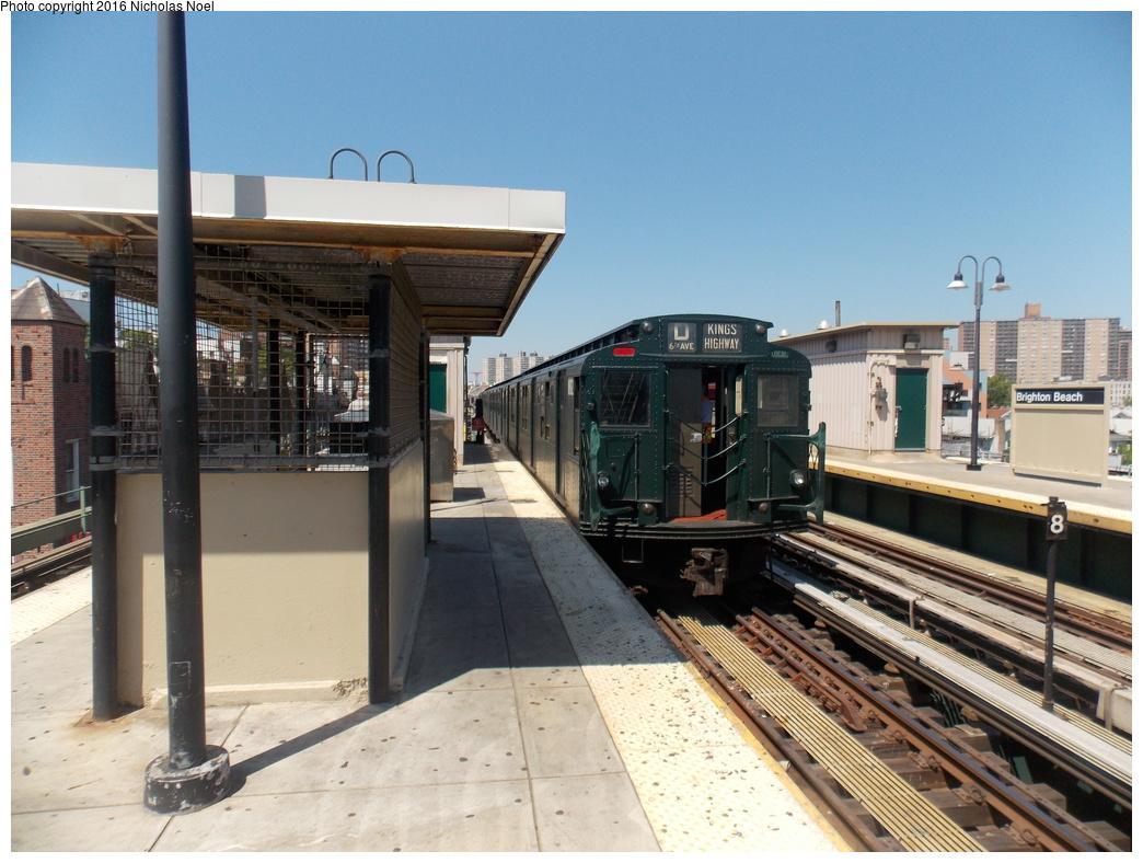 (374k, 1044x788)<br><b>Country:</b> United States<br><b>City:</b> New York<br><b>System:</b> New York City Transit<br><b>Line:</b> BMT Brighton Line<br><b>Location:</b> Brighton Beach<br><b>Route:</b> Museum Train Service<br><b>Car:</b> R-9 (Pressed Steel, 1940) 1802 <br><b>Photo by:</b> Nicholas Noel<br><b>Date:</b> 6/25/2016<br><b>Notes:</b> New York Transit Museum 40th Anniv. parade of trains.<br><b>Viewed (this week/total):</b> 4 / 935