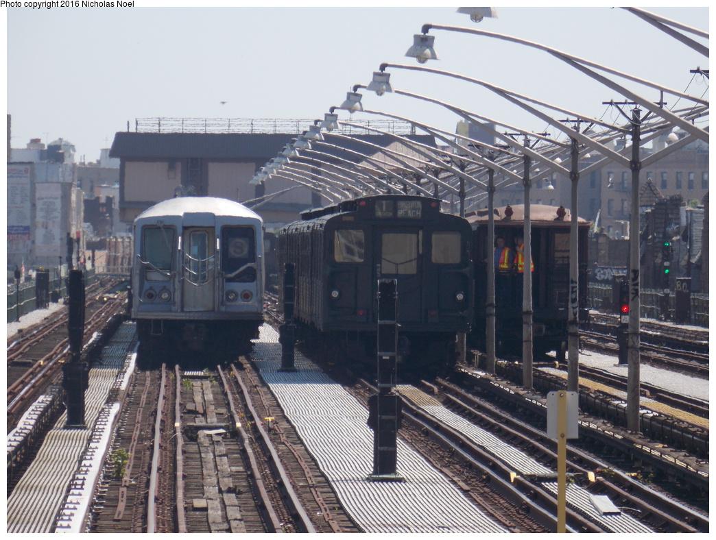(413k, 1044x788)<br><b>Country:</b> United States<br><b>City:</b> New York<br><b>System:</b> New York City Transit<br><b>Line:</b> BMT Brighton Line<br><b>Location:</b> Brighton Beach<br><b>Route:</b> Museum Train Service<br><b>Photo by:</b> Nicholas Noel<br><b>Date:</b> 6/25/2016<br><b>Notes:</b> R-40 4280, R-9, and Gate Car train. New York Transit Museum 40th Anniv. parade of trains.<br><b>Viewed (this week/total):</b> 1 / 625