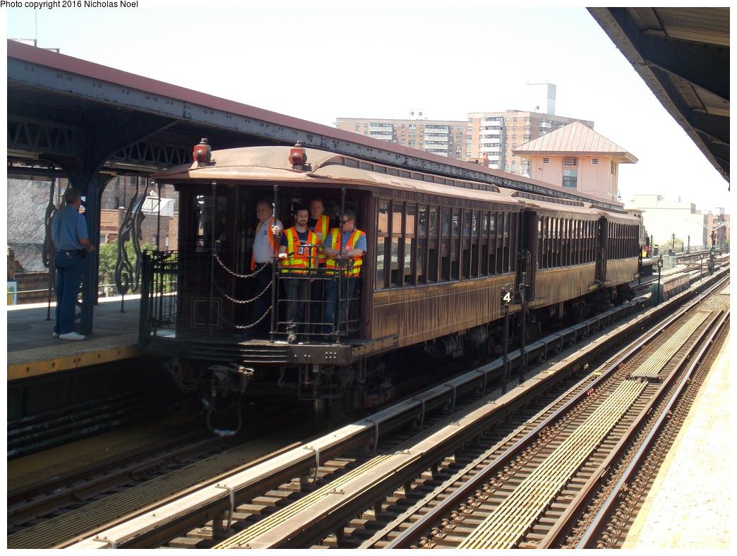 (414k, 1044x788)<br><b>Country:</b> United States<br><b>City:</b> New York<br><b>System:</b> New York City Transit<br><b>Line:</b> BMT Brighton Line<br><b>Location:</b> Brighton Beach<br><b>Route:</b> Museum Train Service<br><b>Car:</b> BMT Elevated Gate Car 1407 <br><b>Photo by:</b> Nicholas Noel<br><b>Date:</b> 6/25/2016<br><b>Notes:</b> New York Transit Museum 40th Anniv. parade of trains.<br><b>Viewed (this week/total):</b> 2 / 1050