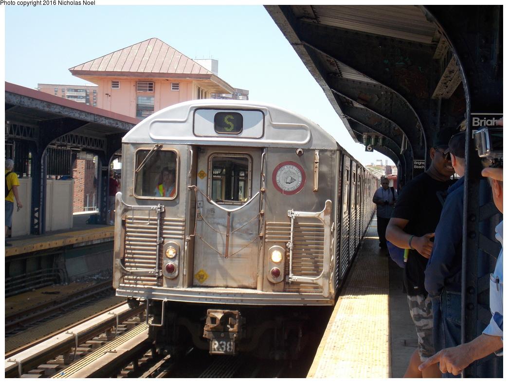 (381k, 1044x788)<br><b>Country:</b> United States<br><b>City:</b> New York<br><b>System:</b> New York City Transit<br><b>Line:</b> BMT Brighton Line<br><b>Location:</b> Brighton Beach<br><b>Route:</b> Museum Train Service<br><b>Car:</b> R-38 (St. Louis, 1966-1967) 4028 <br><b>Photo by:</b> Nicholas Noel<br><b>Date:</b> 6/25/2016<br><b>Notes:</b> New York Transit Museum 40th Anniv. parade of trains.<br><b>Viewed (this week/total):</b> 4 / 1253