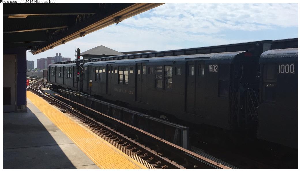 (198k, 1044x597)<br><b>Country:</b> United States<br><b>City:</b> New York<br><b>System:</b> New York City Transit<br><b>Line:</b> BMT Culver Line<br><b>Location:</b> Avenue X<br><b>Route:</b> Museum Train Service<br><b>Car:</b> R-9 (Pressed Steel, 1940) 1802 <br><b>Photo by:</b> Nicholas Noel<br><b>Date:</b> 6/25/2016<br><b>Notes:</b> New York Transit Museum 40th Anniv. parade of trains.<br><b>Viewed (this week/total):</b> 1 / 849