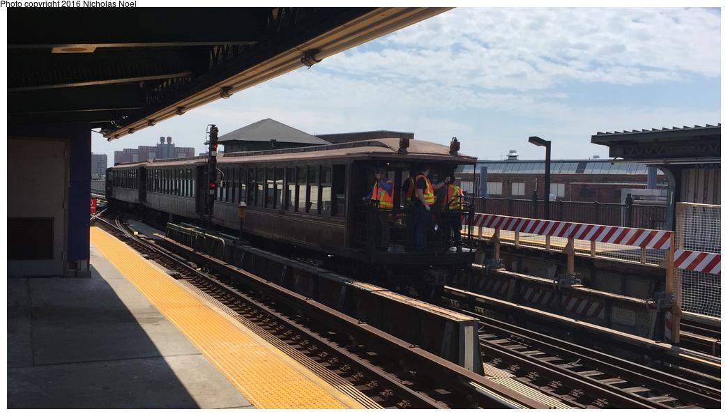 (237k, 1044x597)<br><b>Country:</b> United States<br><b>City:</b> New York<br><b>System:</b> New York City Transit<br><b>Line:</b> BMT Culver Line<br><b>Location:</b> Avenue X<br><b>Route:</b> Museum Train Service<br><b>Car:</b> BMT Elevated Gate Car 1404 <br><b>Photo by:</b> Nicholas Noel<br><b>Date:</b> 6/25/2016<br><b>Notes:</b> New York Transit Museum 40th Anniv. parade of trains.<br><b>Viewed (this week/total):</b> 3 / 1039