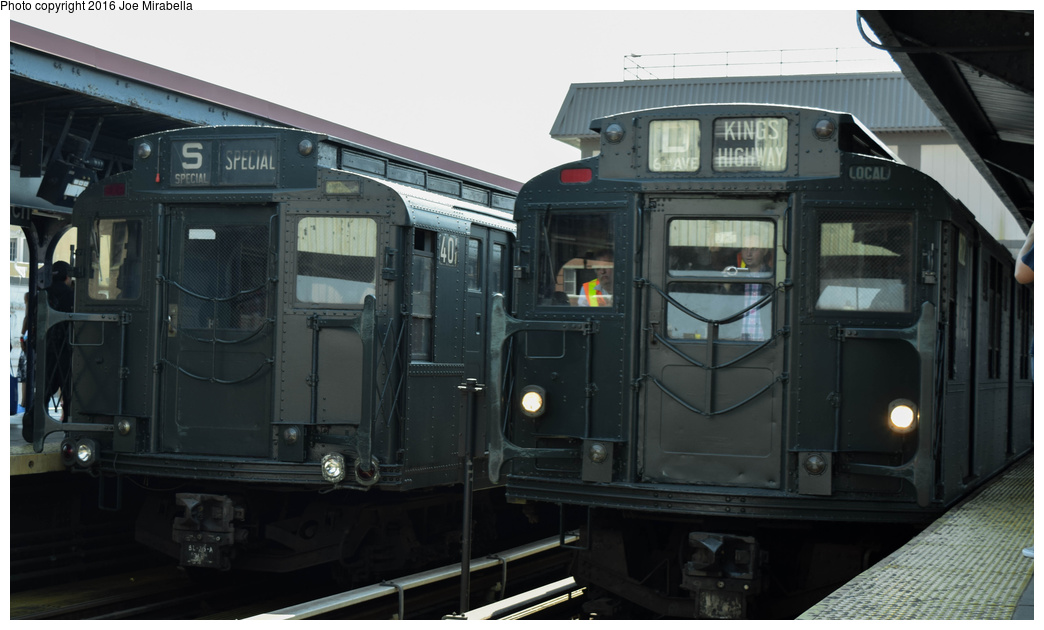 (250k, 1044x630)<br><b>Country:</b> United States<br><b>City:</b> New York<br><b>System:</b> New York City Transit<br><b>Line:</b> BMT Brighton Line<br><b>Location:</b> Brighton Beach<br><b>Route:</b> Museum Train Service<br><b>Car:</b> R-4 (American Car & Foundry, 1932-1933) 401 <br><b>Photo by:</b> Joe Mirabella<br><b>Date:</b> 6/26/2016<br><b>Notes:</b> With R9 1802<br><b>Viewed (this week/total):</b> 0 / 1775