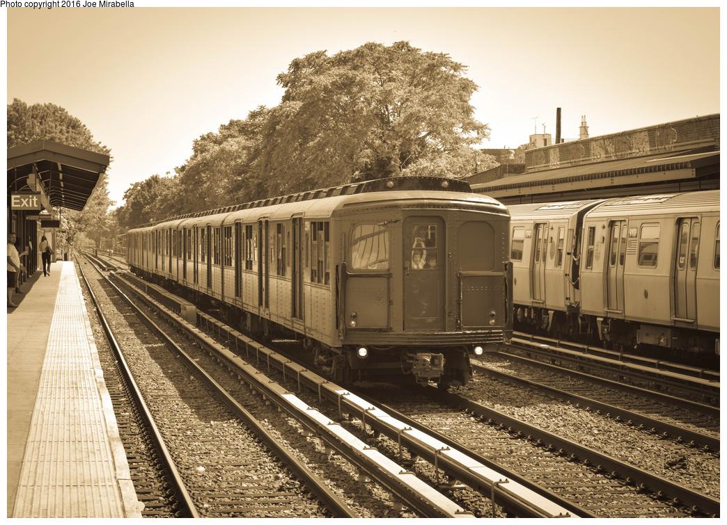 (488k, 1044x755)<br><b>Country:</b> United States<br><b>City:</b> New York<br><b>System:</b> New York City Transit<br><b>Line:</b> BMT Brighton Line<br><b>Location:</b> Avenue U<br><b>Route:</b> Museum Train Service<br><b>Car:</b> BMT A/B-Type Standard 2390/2391/2392 <br><b>Photo by:</b> Joe Mirabella<br><b>Date:</b> 6/26/2016<br><b>Notes:</b> NY Transit Museum 40th anniversary parade of trains.<br><b>Viewed (this week/total):</b> 0 / 1752