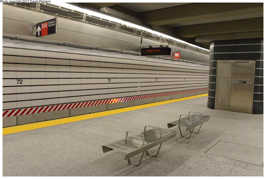 (317k, 1044x703)<br><b>Country:</b> United States<br><b>City:</b> New York<br><b>System:</b> New York City Transit<br><b>Line:</b> 2nd Avenue Subway<br><b>Location:</b> 72nd Street<br><b>Photo by:</b> David Pirmann<br><b>Date:</b> 1/1/2017<br><b>Viewed (this week/total):</b> 0 / 858