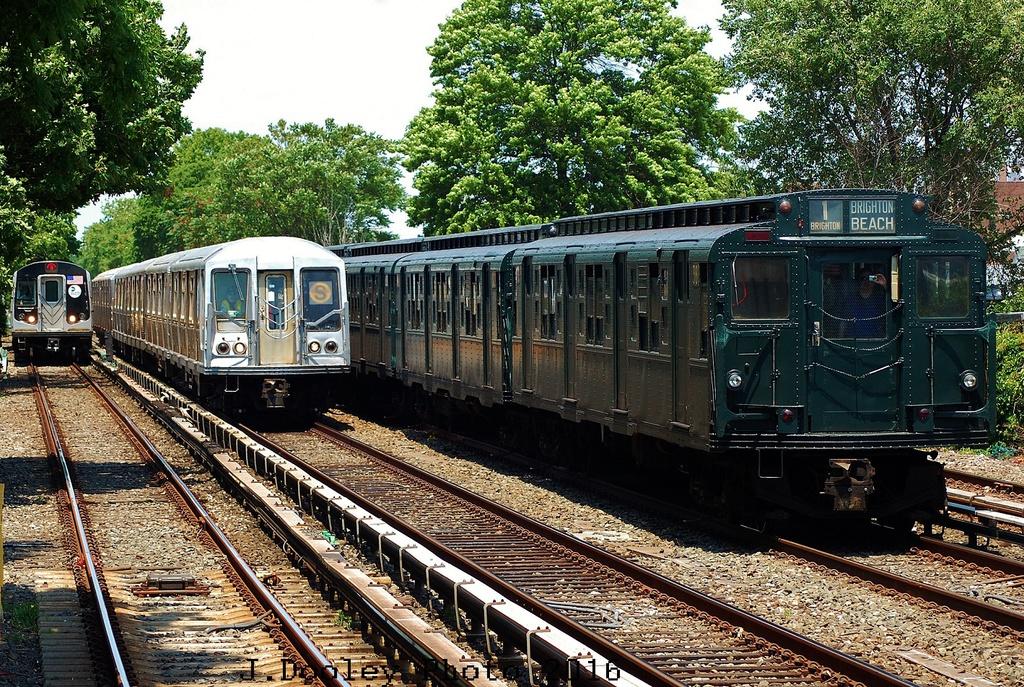 (539k, 1024x687)<br><b>Country:</b> United States<br><b>City:</b> New York<br><b>System:</b> New York City Transit<br><b>Line:</b> BMT Brighton Line<br><b>Location:</b> Neck Road<br><b>Route:</b> Museum Train Service<br><b>Car:</b> R-1 (American Car & Foundry, 1930-1931) 381 <br><b>Photo by:</b> John Dooley<br><b>Date:</b> 6/26/2016<br><b>Notes:</b> With R160B and R40 4280<br><b>Viewed (this week/total):</b> 0 / 907