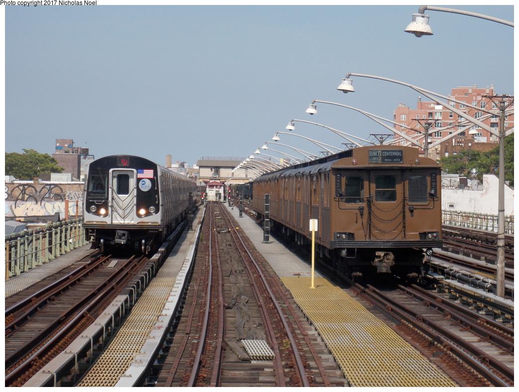 (412k, 1044x788)<br><b>Country:</b> United States<br><b>City:</b> New York<br><b>System:</b> New York City Transit<br><b>Line:</b> BMT Brighton Line<br><b>Location:</b> Brighton Beach<br><b>Route:</b> Museum Train Service<br><b>Car:</b> BMT D-Type Triplex 6112 <br><b>Photo by:</b> Nicholas Noel<br><b>Date:</b> 6/26/2016<br><b>Notes:</b> NY Transit Museum 40th anniversary parade of trains.<br><b>Viewed (this week/total):</b> 0 / 808