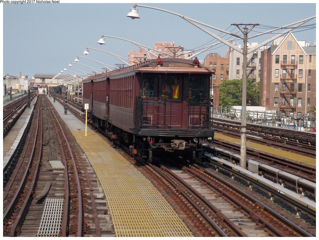 (455k, 1044x788)<br><b>Country:</b> United States<br><b>City:</b> New York<br><b>System:</b> New York City Transit<br><b>Line:</b> BMT Brighton Line<br><b>Location:</b> Brighton Beach<br><b>Route:</b> Museum Train Service<br><b>Car:</b> BMT Elevated Gate Car 1404 <br><b>Photo by:</b> Nicholas Noel<br><b>Date:</b> 6/26/2016<br><b>Notes:</b> NY Transit Museum 40th anniversary parade of trains.<br><b>Viewed (this week/total):</b> 1 / 752