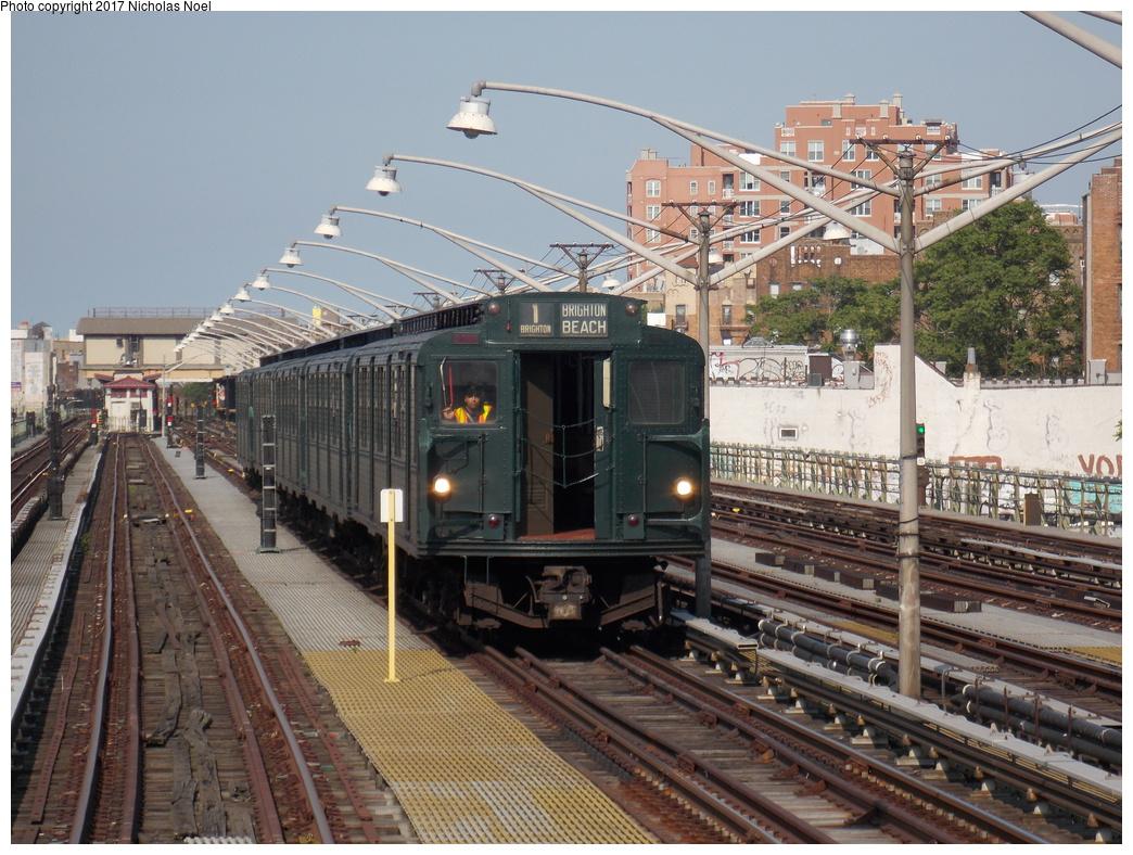 (432k, 1044x788)<br><b>Country:</b> United States<br><b>City:</b> New York<br><b>System:</b> New York City Transit<br><b>Line:</b> BMT Brighton Line<br><b>Location:</b> Brighton Beach<br><b>Route:</b> Museum Train Service<br><b>Car:</b> R-1 (American Car & Foundry, 1930-1931) 381 <br><b>Photo by:</b> Nicholas Noel<br><b>Date:</b> 6/26/2016<br><b>Notes:</b> NY Transit Museum 40th anniversary parade of trains.<br><b>Viewed (this week/total):</b> 0 / 798