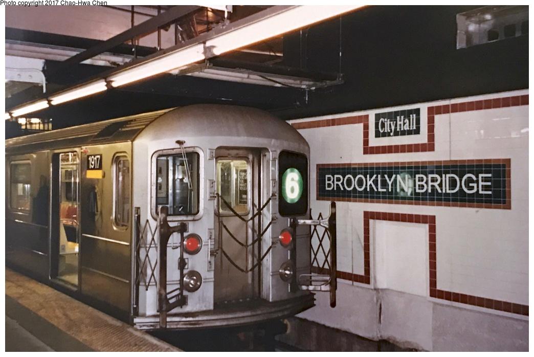 (239k, 1044x698)<br><b>Country:</b> United States<br><b>City:</b> New York<br><b>System:</b> New York City Transit<br><b>Line:</b> IRT East Side Line<br><b>Location:</b> Brooklyn Bridge/City Hall<br><b>Route:</b> 6<br><b>Car:</b> R-62A (Bombardier, 1984-1987) 1917 <br><b>Photo by:</b> Chao-Hwa Chen<br><b>Date:</b> 8/26/1995<br><b>Viewed (this week/total):</b> 3 / 1578