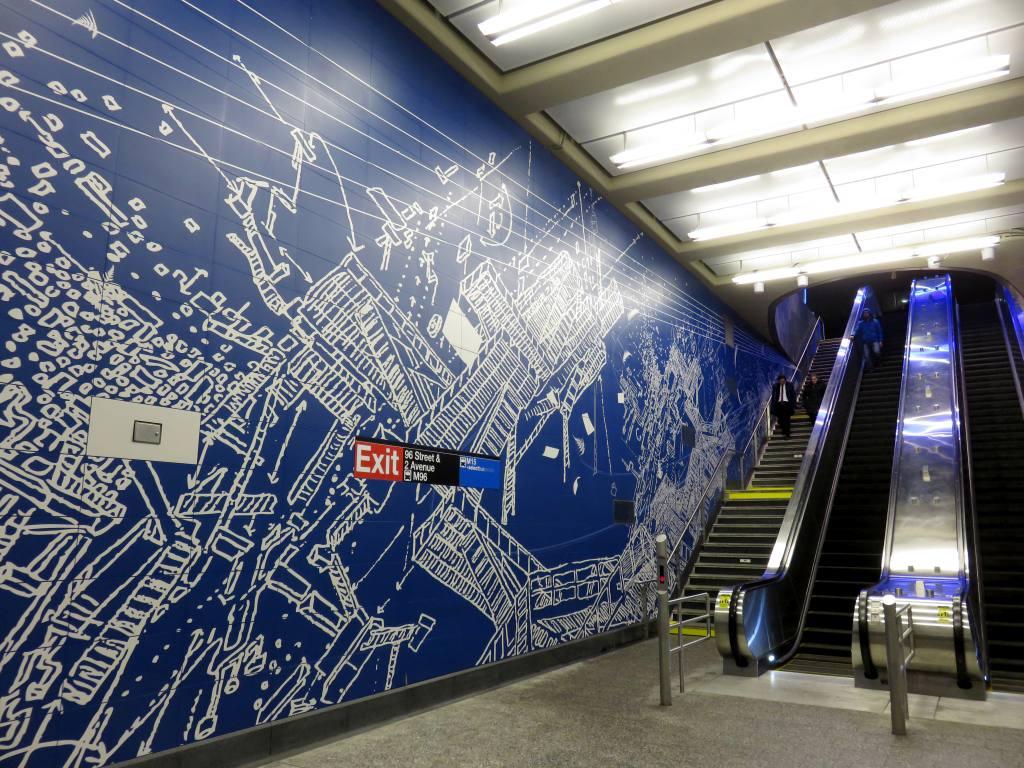 (188k, 1024x768)<br><b>Country:</b> United States<br><b>City:</b> New York<br><b>System:</b> New York City Transit<br><b>Line:</b> 2nd Avenue Subway<br><b>Location:</b> 96th Street<br><b>Photo by:</b> Robbie Rosenfeld<br><b>Date:</b> 1/11/2017<br><b>Artwork:</b> <i>Blueprint for a Landscape</i>, Sarah Sze, 2016<br><b>Viewed (this week/total):</b> 2 / 1100