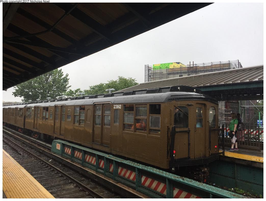 (297k, 1044x788)<br><b>Country:</b> United States<br><b>City:</b> New York<br><b>System:</b> New York City Transit<br><b>Line:</b> BMT Brighton Line<br><b>Location:</b> Kings Highway<br><b>Route:</b> Museum Train Service<br><b>Car:</b> BMT A/B-Type Standard 2392 <br><b>Photo by:</b> Nicholas Noel<br><b>Date:</b> 6/17/2017<br><b>Viewed (this week/total):</b> 0 / 1194