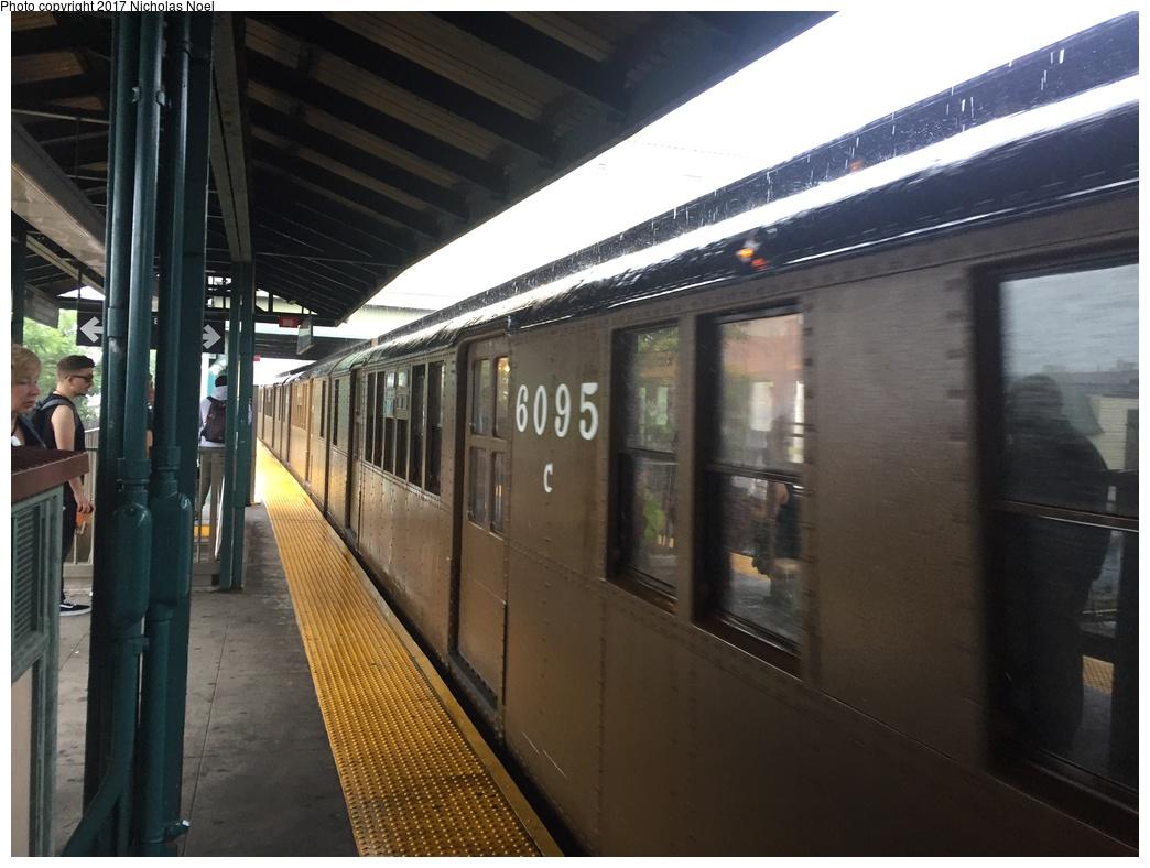 (269k, 1044x788)<br><b>Country:</b> United States<br><b>City:</b> New York<br><b>System:</b> New York City Transit<br><b>Line:</b> BMT Brighton Line<br><b>Location:</b> Kings Highway<br><b>Route:</b> Museum Train Service<br><b>Car:</b> BMT D-Type Triplex 6095 <br><b>Photo by:</b> Nicholas Noel<br><b>Date:</b> 6/17/2017<br><b>Viewed (this week/total):</b> 0 / 996