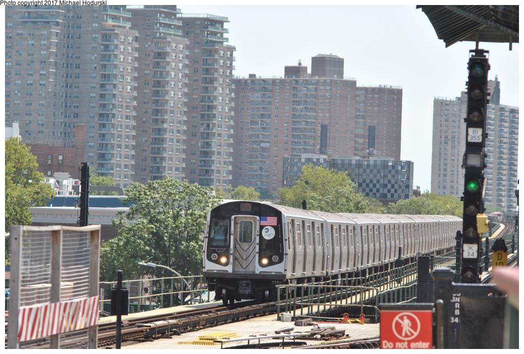 (405k, 1044x705)<br><b>Country:</b> United States<br><b>City:</b> New York<br><b>System:</b> New York City Transit<br><b>Line:</b> BMT Culver Line<br><b>Location:</b> Avenue X<br><b>Route:</b> F<br><b>Car:</b> R-160A (Option 2) (Alstom, 2009, 5-car sets) 9677 <br><b>Photo by:</b> Michael Hodurski<br><b>Date:</b> 7/18/2017<br><b>Viewed (this week/total):</b> 3 / 801