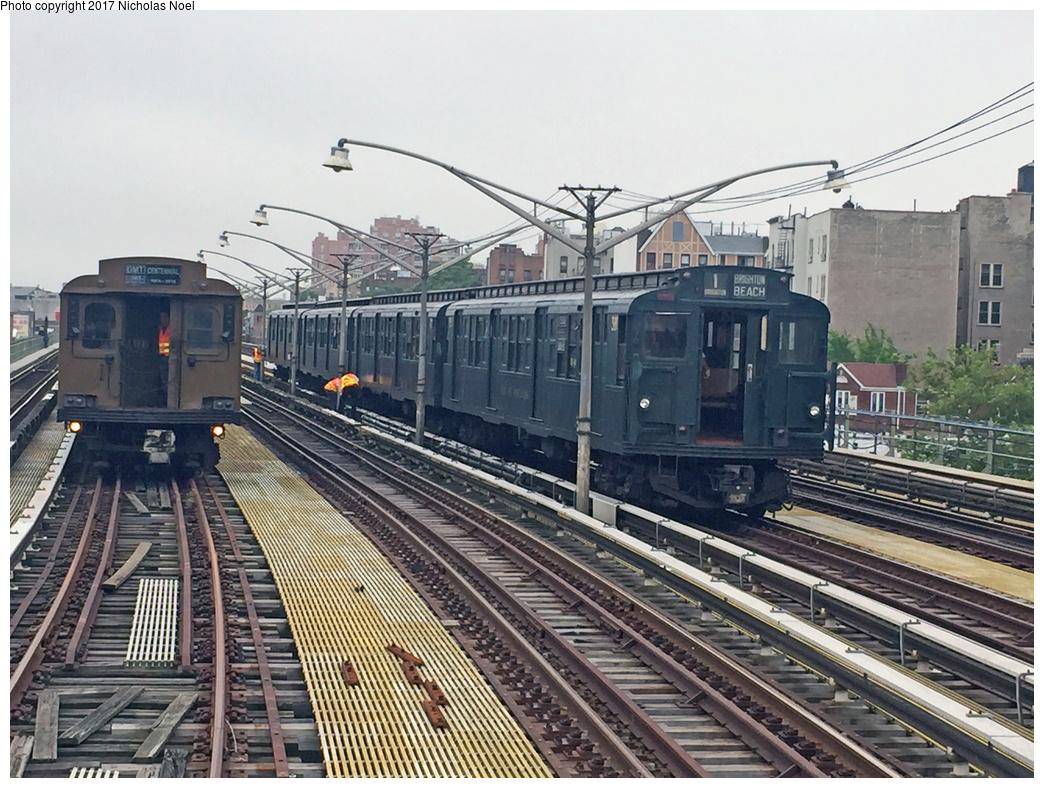 (415k, 1044x788)<br><b>Country:</b> United States<br><b>City:</b> New York<br><b>System:</b> New York City Transit<br><b>Line:</b> BMT Brighton Line<br><b>Location:</b> Ocean Parkway<br><b>Car:</b> R-1 (American Car & Foundry, 1930-1931) 381 <br><b>Photo by:</b> Nicholas Noel<br><b>Date:</b> 6/17/2017<br><b>Notes:</b> With BMT D-Type Triplex 6095<br><b>Viewed (this week/total):</b> 0 / 961