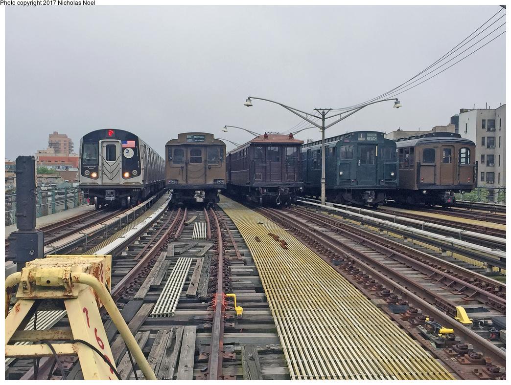 (437k, 1044x788)<br><b>Country:</b> United States<br><b>City:</b> New York<br><b>System:</b> New York City Transit<br><b>Line:</b> BMT Brighton Line<br><b>Location:</b> Ocean Parkway<br><b>Photo by:</b> Nicholas Noel<br><b>Date:</b> 6/17/2017<br><b>Notes:</b> Left to right: In service R-160 (Q), Museum Train Parade cars: BMT D-Type Triplex 6095, BMT Gate Car 1407, R-1 381, BMT Standard 2392.<br><b>Viewed (this week/total):</b> 0 / 1065