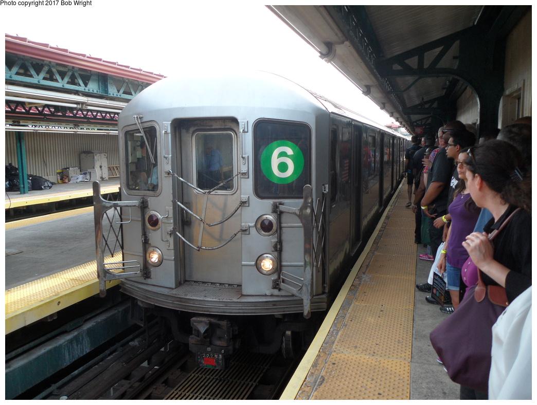 (323k, 1044x788)<br><b>Country:</b> United States<br><b>City:</b> New York<br><b>System:</b> New York City Transit<br><b>Line:</b> IRT Pelham Line<br><b>Location:</b> Pelham Bay Park<br><b>Route:</b> 6<br><b>Car:</b> R-62A (Bombardier, 1984-1987) 2225 <br><b>Photo by:</b> Bob Wright<br><b>Date:</b> 8/9/2015<br><b>Viewed (this week/total):</b> 0 / 1208