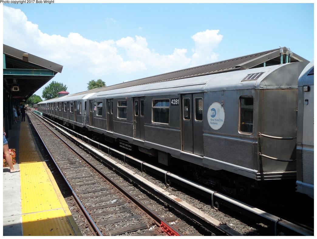(341k, 1044x788)<br><b>Country:</b> United States<br><b>City:</b> New York<br><b>System:</b> New York City Transit<br><b>Line:</b> BMT Brighton Line<br><b>Location:</b> Kings Highway<br><b>Route:</b> Museum Train Service<br><b>Car:</b> R-40 (St. Louis, 1968) 4281 <br><b>Photo by:</b> Bob Wright<br><b>Date:</b> 6/25/2016<br><b>Viewed (this week/total):</b> 1 / 600