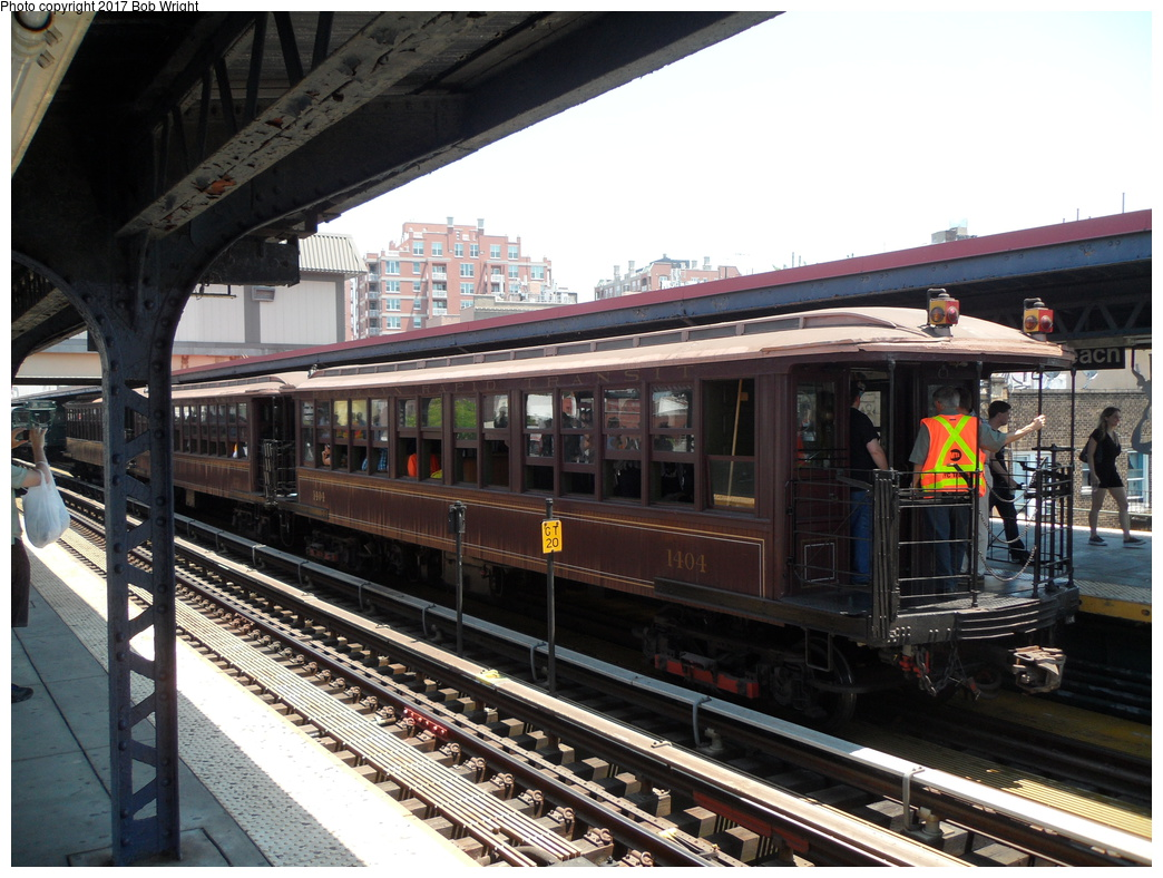 (350k, 1044x788)<br><b>Country:</b> United States<br><b>City:</b> New York<br><b>System:</b> New York City Transit<br><b>Line:</b> BMT Brighton Line<br><b>Location:</b> Brighton Beach<br><b>Route:</b> Museum Train Service<br><b>Car:</b> BMT Elevated Gate Car 1404/1273/1407 <br><b>Photo by:</b> Bob Wright<br><b>Date:</b> 6/25/2016<br><b>Viewed (this week/total):</b> 2 / 710