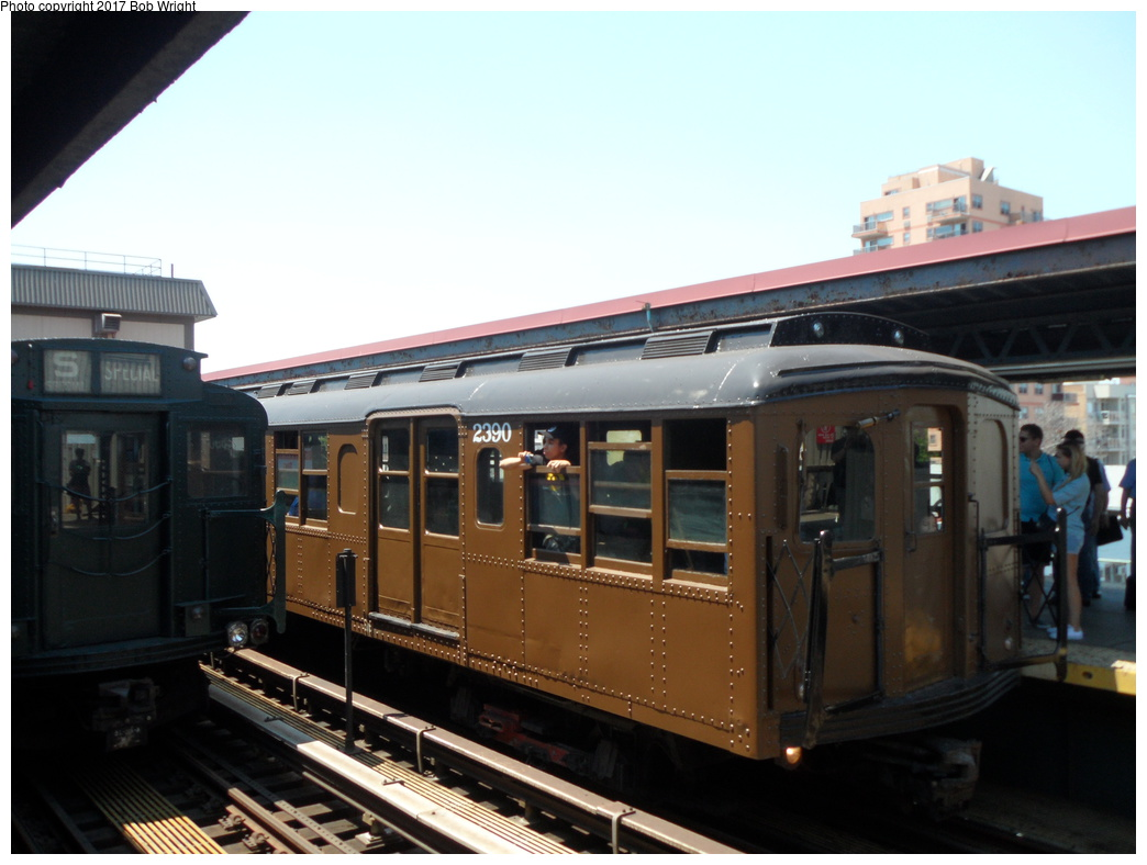 (259k, 1044x788)<br><b>Country:</b> United States<br><b>City:</b> New York<br><b>System:</b> New York City Transit<br><b>Line:</b> BMT Brighton Line<br><b>Location:</b> Brighton Beach<br><b>Route:</b> Museum Train Service<br><b>Car:</b> BMT A/B-Type Standard 2390 <br><b>Photo by:</b> Bob Wright<br><b>Date:</b> 6/25/2016<br><b>Viewed (this week/total):</b> 3 / 686