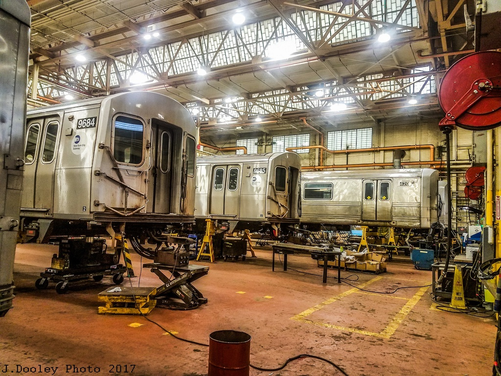 (446k, 1024x768)<br><b>Country:</b> United States<br><b>City:</b> New York<br><b>System:</b> New York City Transit<br><b>Location:</b> Coney Island Shop/Overhaul & Repair Shop<br><b>Car:</b> R-160A (Option 2) (Alstom, 2009, 5-car sets) 9684/9685 <br><b>Photo by:</b> John Dooley<br><b>Date:</b> 5/5/2017<br><b>Notes:</b> With SIRT R-44 420<br><b>Viewed (this week/total):</b> 1 / 667