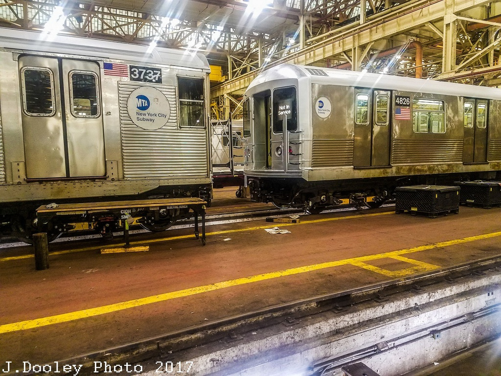 (429k, 1024x768)<br><b>Country:</b> United States<br><b>City:</b> New York<br><b>System:</b> New York City Transit<br><b>Location:</b> Coney Island Shop/Overhaul & Repair Shop<br><b>Car:</b> R-32 (Budd, 1964) 3737 <br><b>Photo by:</b> John Dooley<br><b>Date:</b> 5/5/2017<br><b>Notes:</b> With R-42 4826<br><b>Viewed (this week/total):</b> 2 / 815