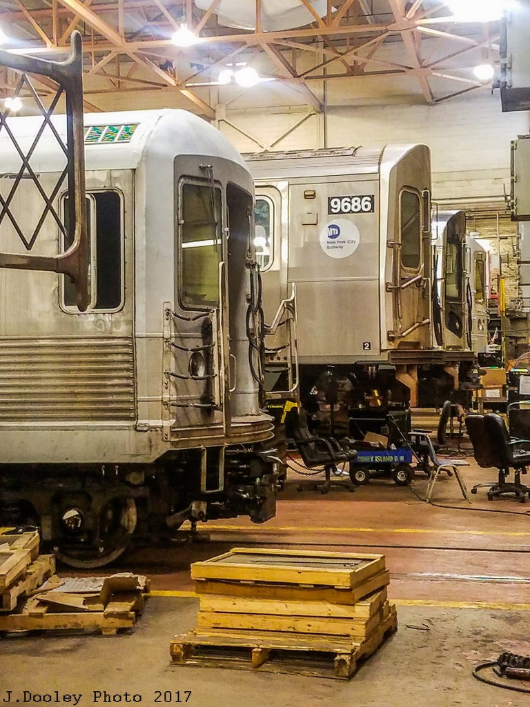 (364k, 768x1025)<br><b>Country:</b> United States<br><b>City:</b> New York<br><b>System:</b> New York City Transit<br><b>Location:</b> Coney Island Shop/Overhaul & Repair Shop<br><b>Car:</b> R-160A (Option 2) (Alstom, 2009, 5-car sets) 9686 <br><b>Photo by:</b> John Dooley<br><b>Date:</b> 5/5/2017<br><b>Notes:</b> With an R-42<br><b>Viewed (this week/total):</b> 0 / 579