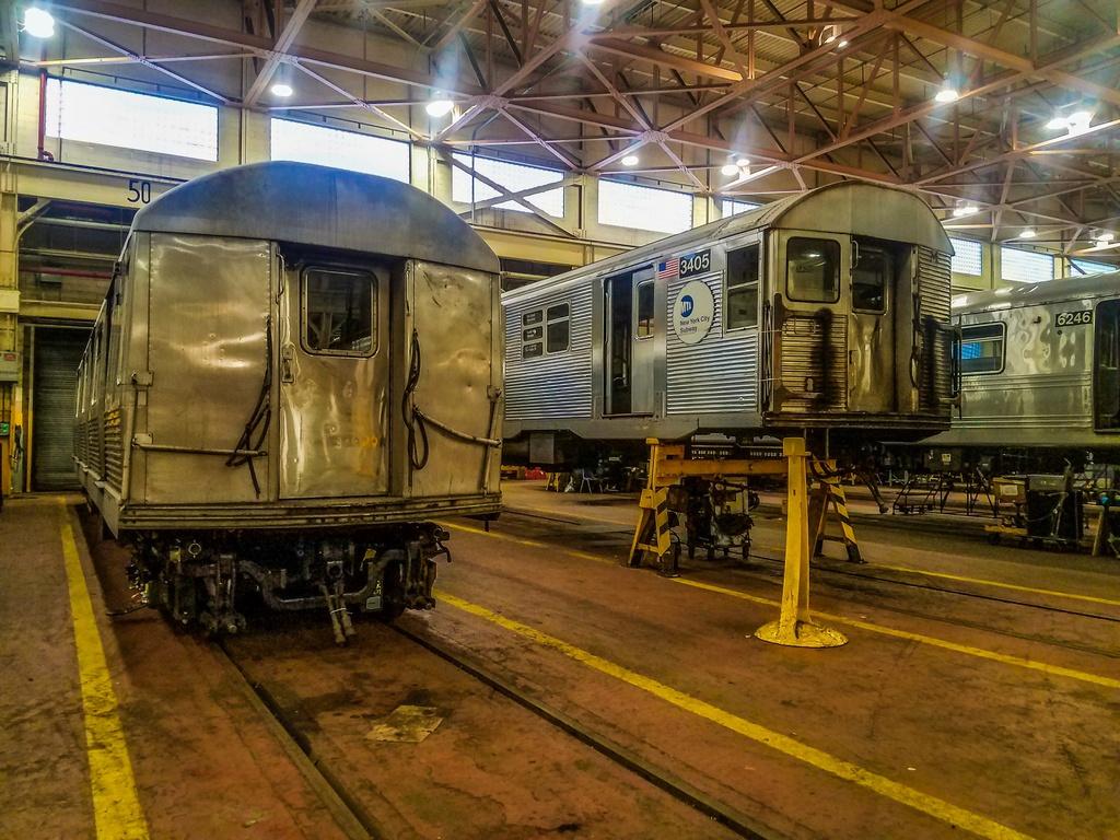 (351k, 1024x768)<br><b>Country:</b> United States<br><b>City:</b> New York<br><b>System:</b> New York City Transit<br><b>Location:</b> Coney Island Shop/Overhaul & Repair Shop<br><b>Car:</b> R-32 (Budd, 1964) 3405 <br><b>Photo by:</b> John Dooley<br><b>Date:</b> 5/5/2017<br><b>Viewed (this week/total):</b> 2 / 834