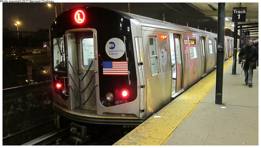 (263k, 1044x595)<br><b>Country:</b> United States<br><b>City:</b> New York<br><b>System:</b> New York City Transit<br><b>Line:</b> BMT Canarsie Line<br><b>Location:</b> Rockaway Parkway<br><b>Route:</b> L<br><b>Car:</b> R-143 (Kawasaki, 2001-2002) 8281 <br><b>Photo by:</b> Bernard Chatreau<br><b>Date:</b> 4/8/2011<br><b>Viewed (this week/total):</b> 10 / 646