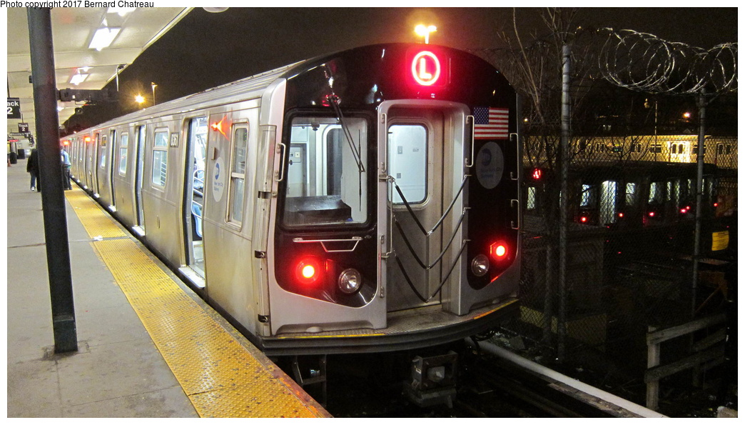 (286k, 1044x595)<br><b>Country:</b> United States<br><b>City:</b> New York<br><b>System:</b> New York City Transit<br><b>Line:</b> BMT Canarsie Line<br><b>Location:</b> Rockaway Parkway<br><b>Route:</b> L<br><b>Car:</b> R-160A-1 (Alstom, 2005-2008, 4 car sets) 8361 <br><b>Photo by:</b> Bernard Chatreau<br><b>Date:</b> 4/8/2011<br><b>Viewed (this week/total):</b> 9 / 637