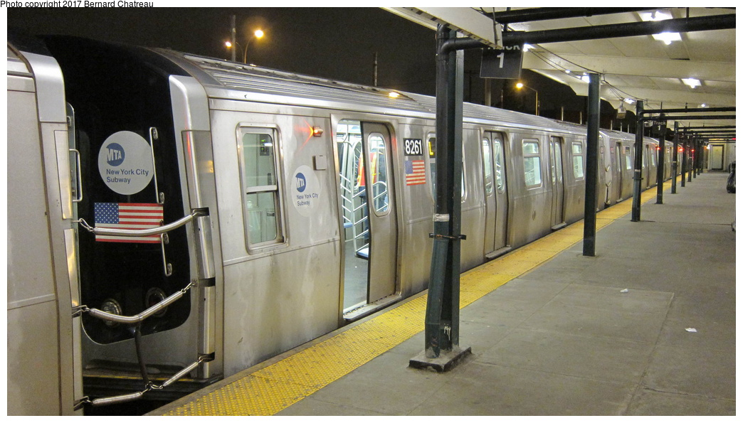 (266k, 1044x595)<br><b>Country:</b> United States<br><b>City:</b> New York<br><b>System:</b> New York City Transit<br><b>Line:</b> BMT Canarsie Line<br><b>Location:</b> Rockaway Parkway<br><b>Route:</b> L<br><b>Car:</b> R-143 (Kawasaki, 2001-2002) 8261 <br><b>Photo by:</b> Bernard Chatreau<br><b>Date:</b> 4/8/2011<br><b>Viewed (this week/total):</b> 7 / 596
