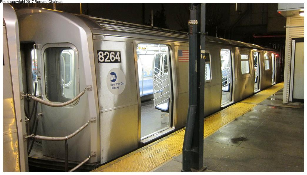 (268k, 1044x595)<br><b>Country:</b> United States<br><b>City:</b> New York<br><b>System:</b> New York City Transit<br><b>Line:</b> BMT Canarsie Line<br><b>Location:</b> Rockaway Parkway<br><b>Route:</b> L<br><b>Car:</b> R-143 (Kawasaki, 2001-2002) 8264 <br><b>Photo by:</b> Bernard Chatreau<br><b>Date:</b> 4/8/2011<br><b>Viewed (this week/total):</b> 8 / 538