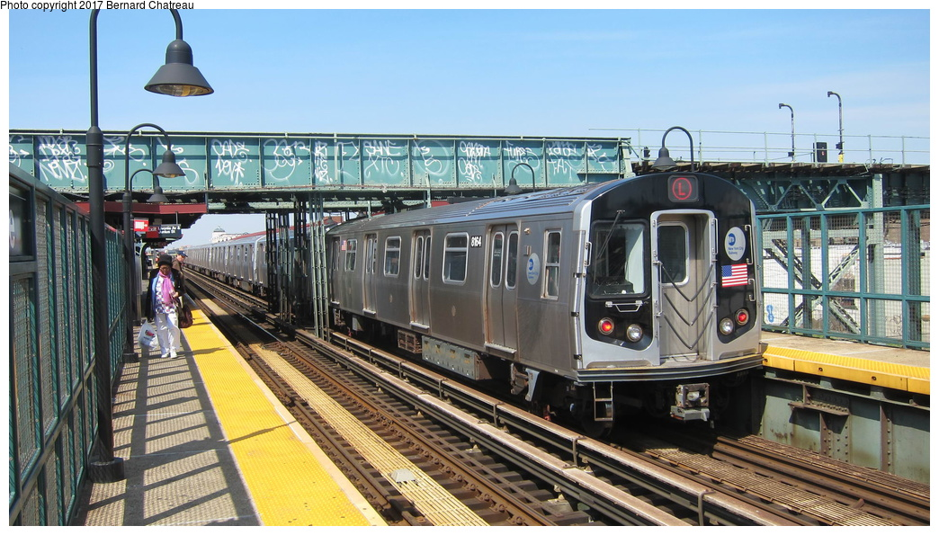 (317k, 1044x595)<br><b>Country:</b> United States<br><b>City:</b> New York<br><b>System:</b> New York City Transit<br><b>Line:</b> BMT Canarsie Line<br><b>Location:</b> Livonia Avenue<br><b>Route:</b> L<br><b>Car:</b> R-160A (Option 1) (Alstom, 2008-2009, 5 car sets) 9264 <br><b>Photo by:</b> Bernard Chatreau<br><b>Date:</b> 4/9/2011<br><b>Viewed (this week/total):</b> 0 / 675