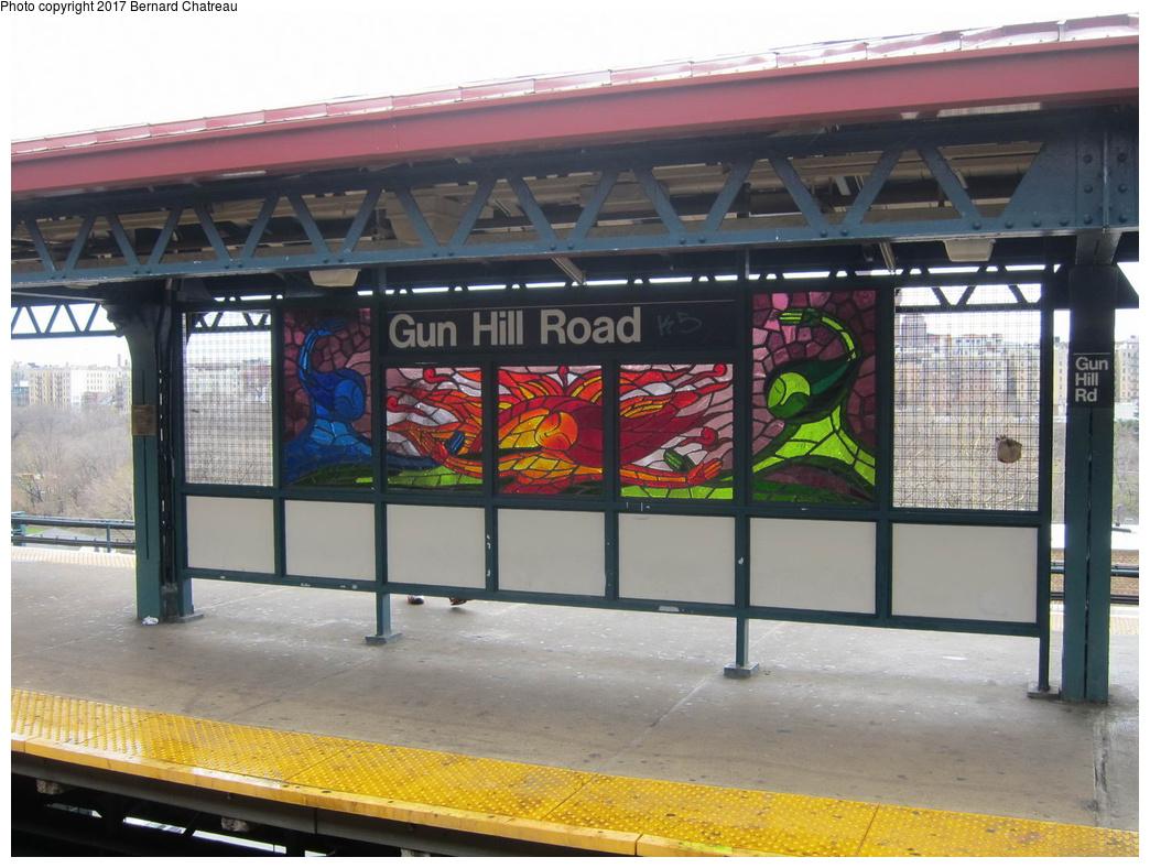 (316k, 1044x788)<br><b>Country:</b> United States<br><b>City:</b> New York<br><b>System:</b> New York City Transit<br><b>Line:</b> IRT White Plains Road Line<br><b>Location:</b> Gun Hill Road<br><b>Photo by:</b> Bernard Chatreau<br><b>Date:</b> 4/12/2011<br><b>Artwork:</b> <i>Mi Sol, Mi Planeta, Mi Ciudad (My Sun, My Planet, My City)</i>, Andrea Arroyo, 2006<br><b>Viewed (this week/total):</b> 3 / 696